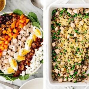 Leftover turkey salad and turkey casserole