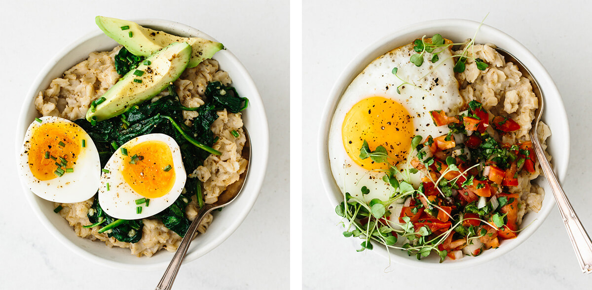 Savory oatmeal recipes in 2 bowls.