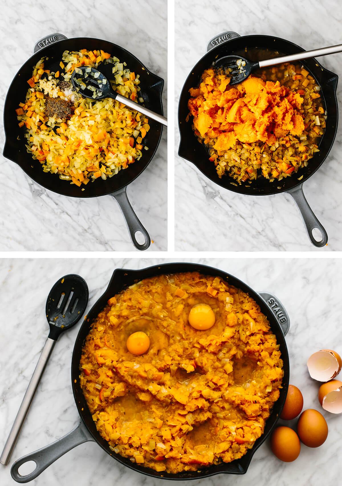 Sauteing ingredients for an orange shakshuka in a skillet.