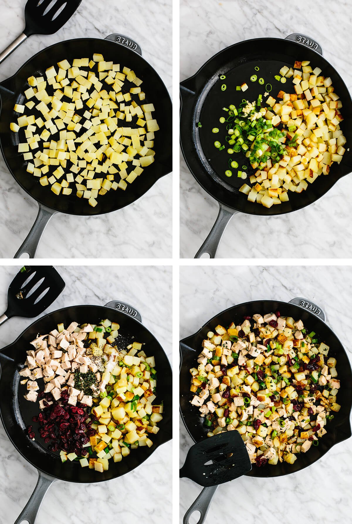 Making the turkey cranberry hash in a saute pan.