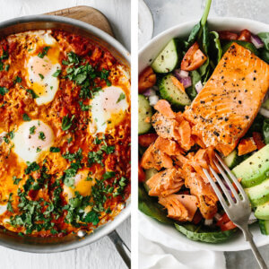 Whole30 shakshuka and salmon salad for lunch.