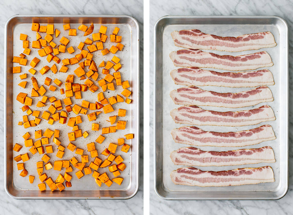 Roasting sweet potatoes and bacon for a breakfast casserole.