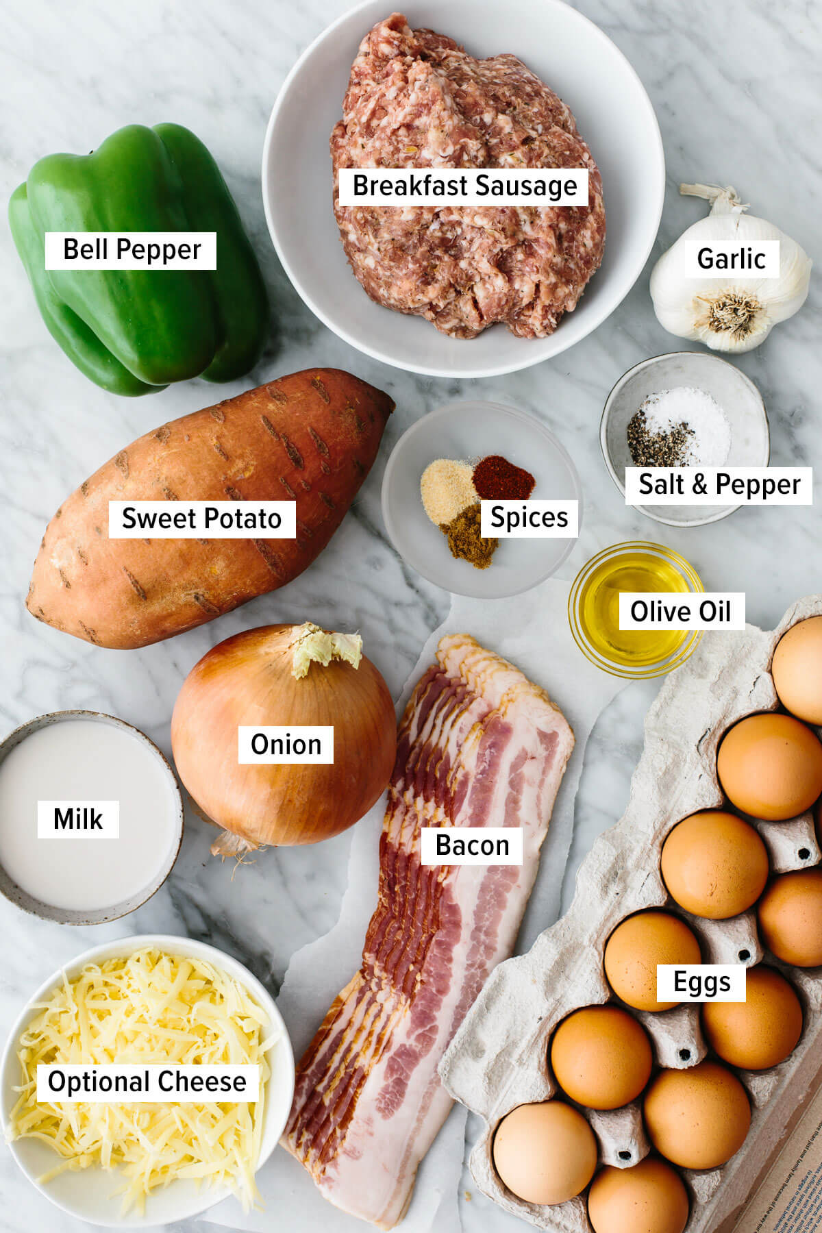 Ingredients for a breakfast casserole on a table.