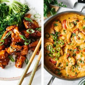 Chipotle shrimp next to teriyaki chicken for easy dinner ideas.