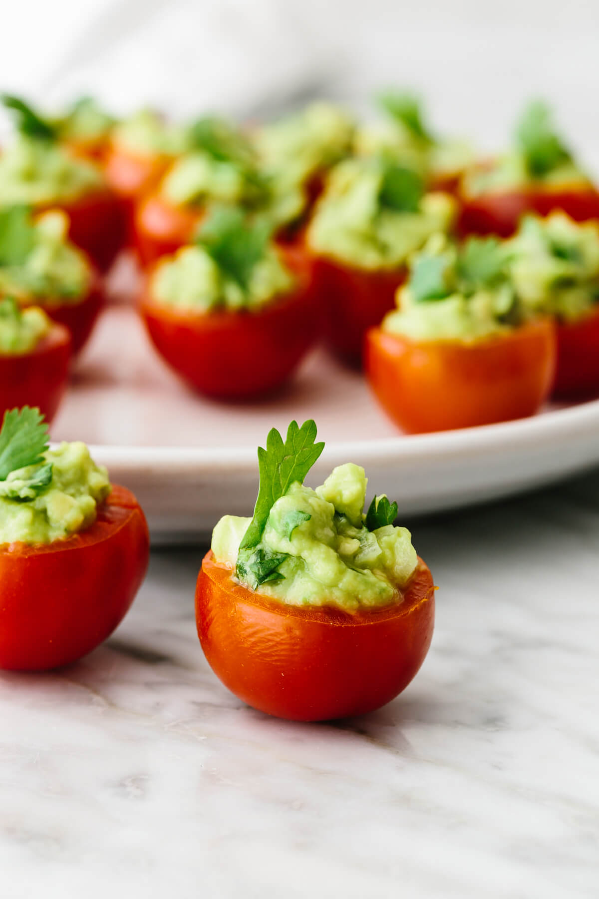 A plate with guacamole stuffed tomatoes.