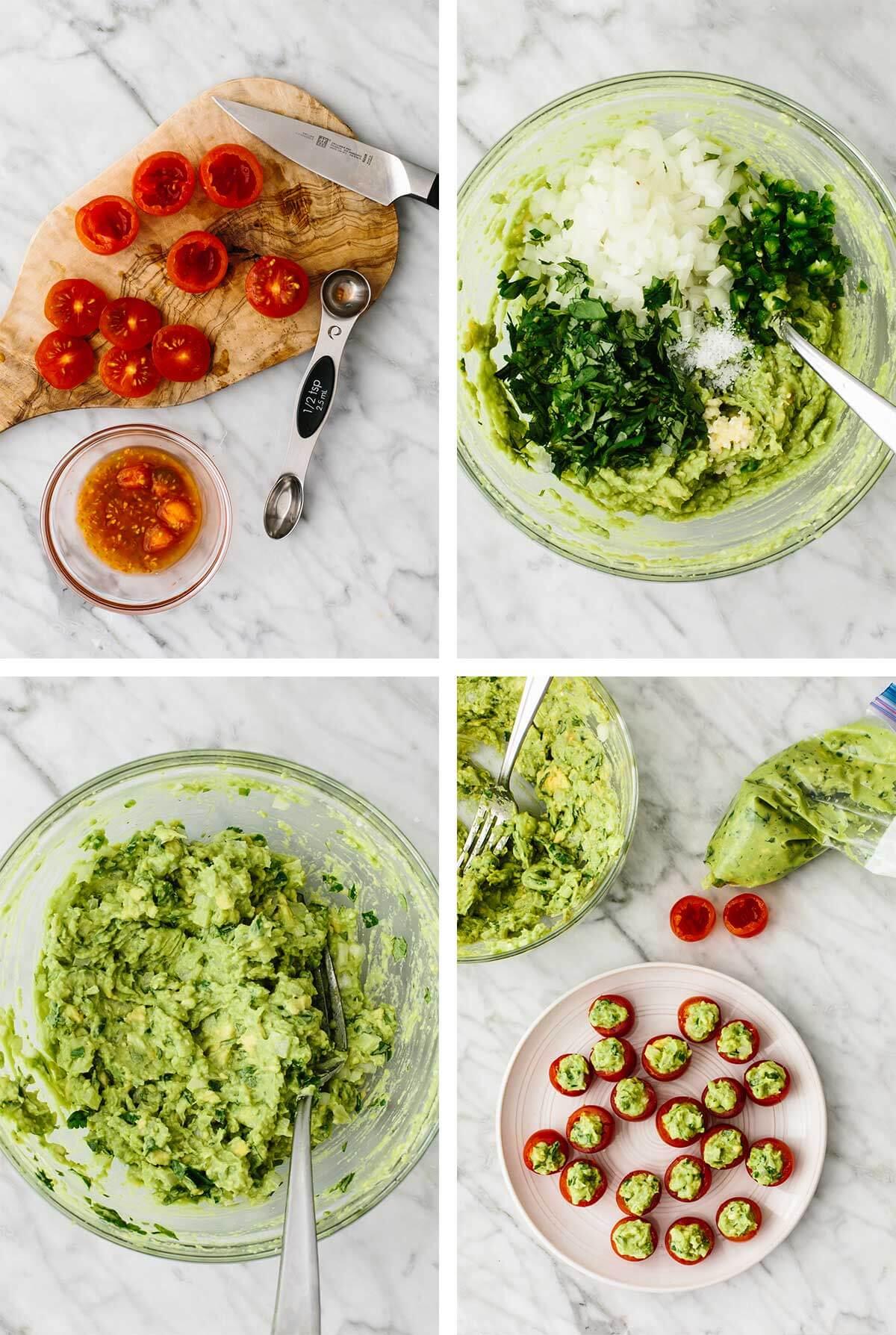 Mixing guacamole in a bowl and making guacamole stuffed tomatoes.