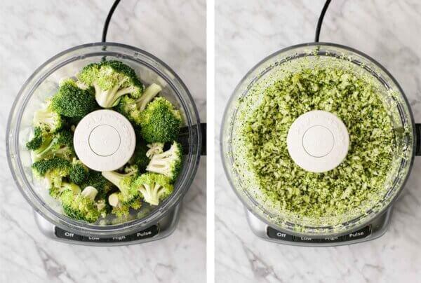 Broccoli being processed in a food processor for broccoli tuna salad.