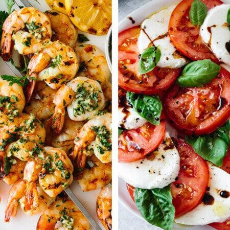 Mediterranean recipes with grilled shrimp and caprese salad.