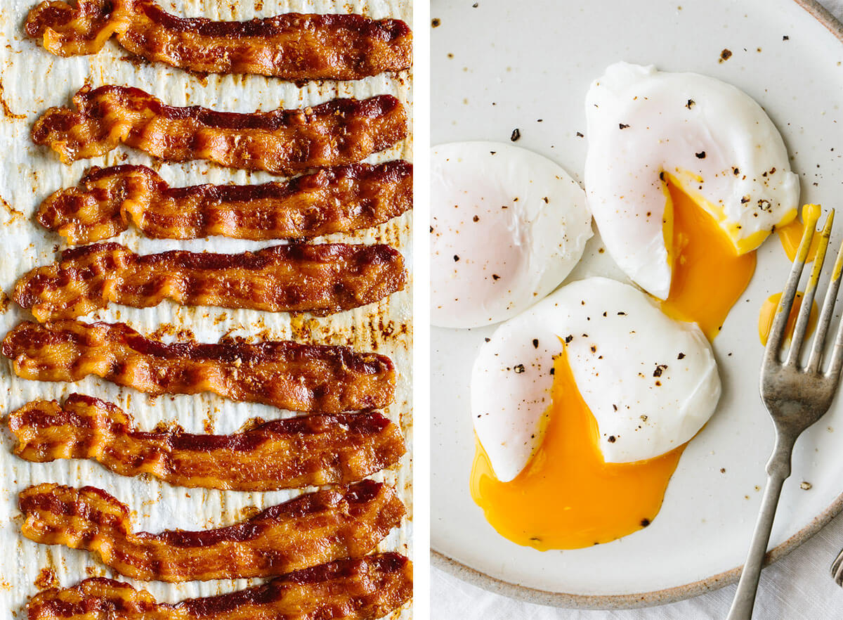 Best breakfast ideas with bacon and poached eggs.