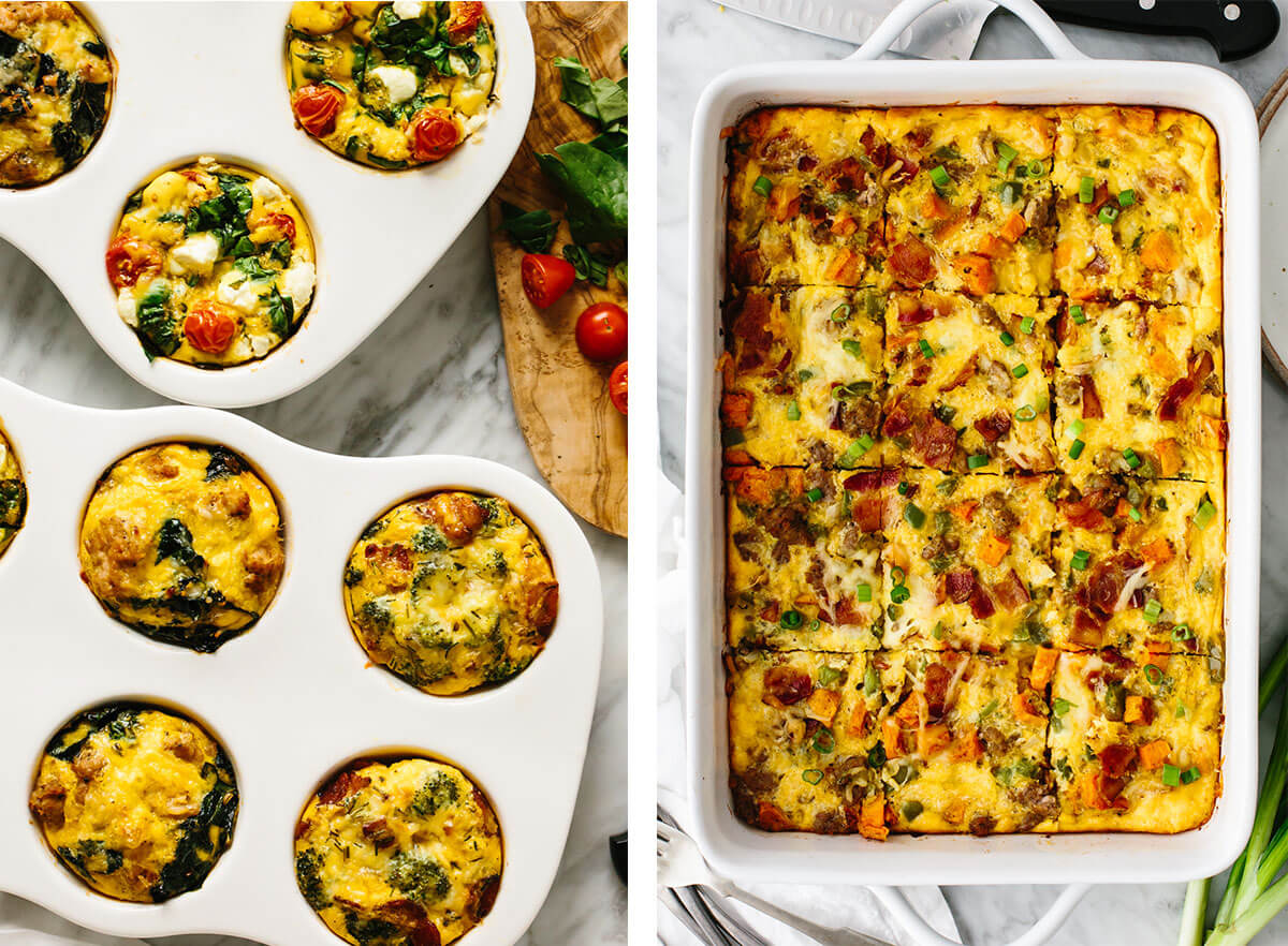 Best breakfast ideas with breakfast casserole and egg muffins.