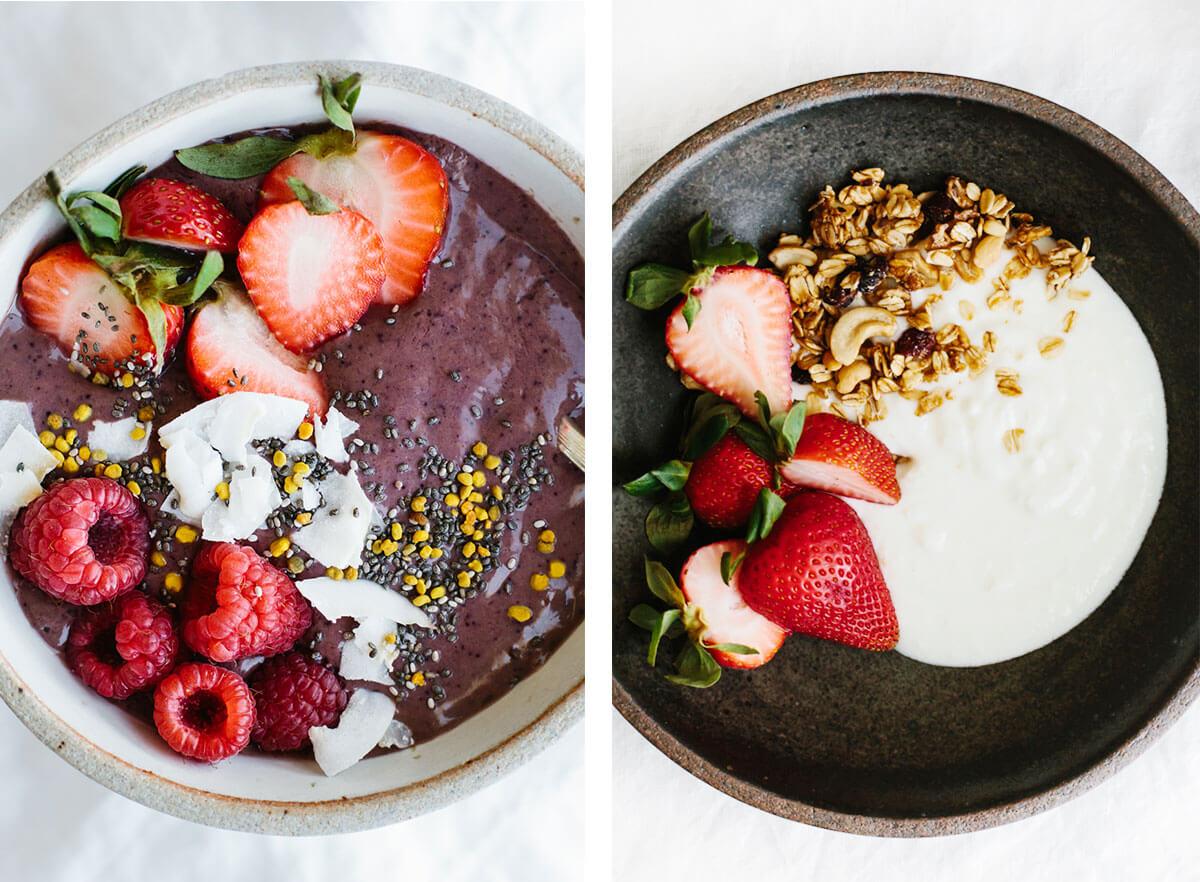Best breakfast ideas with yogurt and acai bowl.