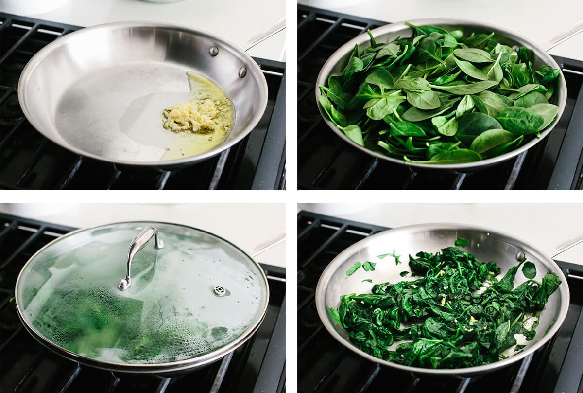 Making garlic sauteed spinach in a pan.