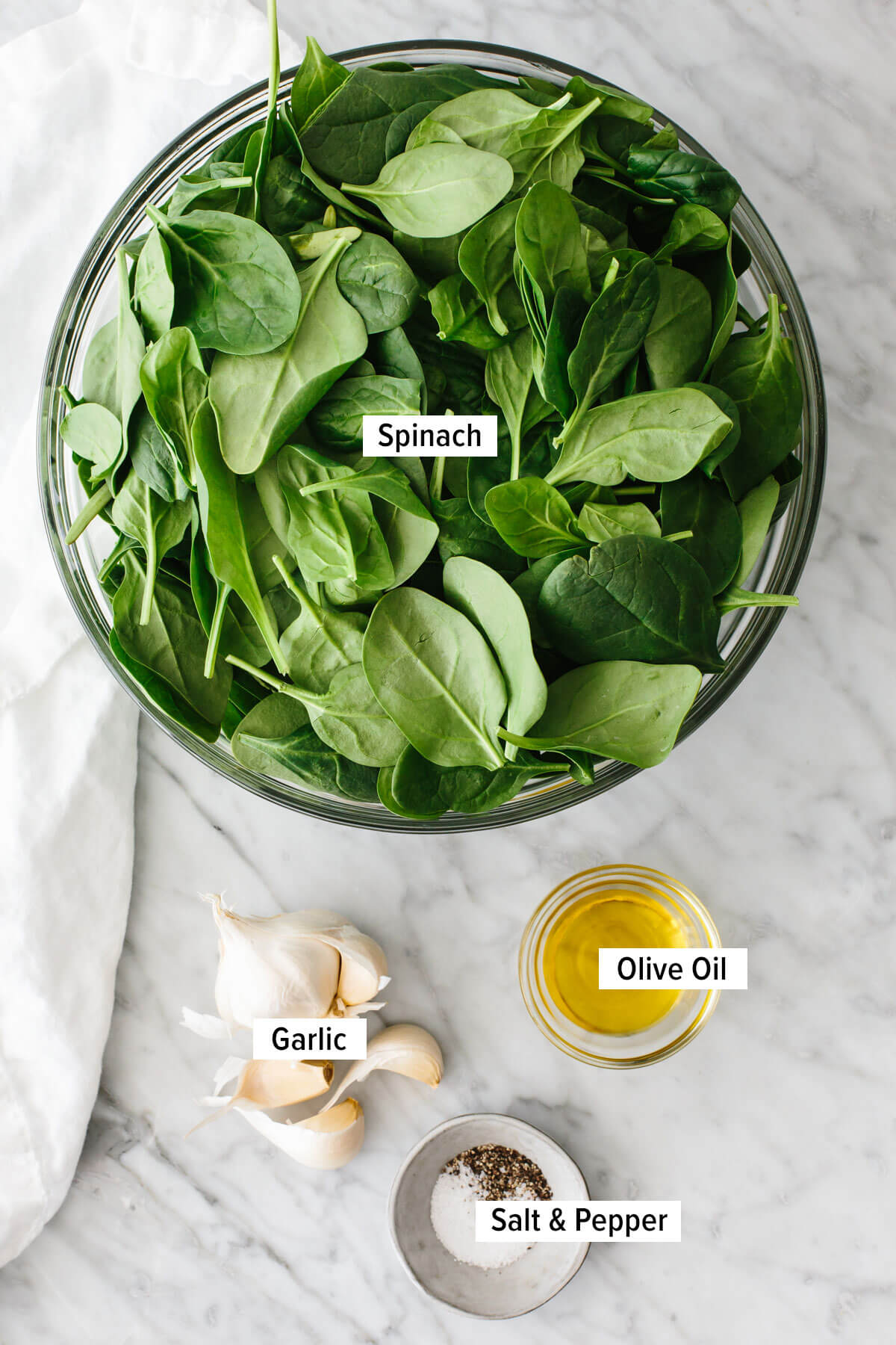 Ingredients for garlic sauteed spinach.