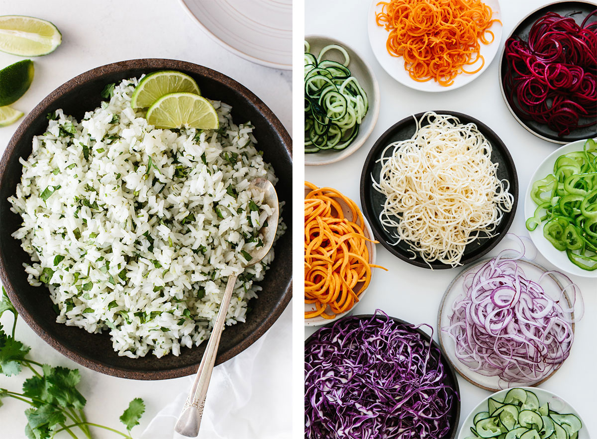Ingredient meal prep recipes with rice and spiralized vegetables.