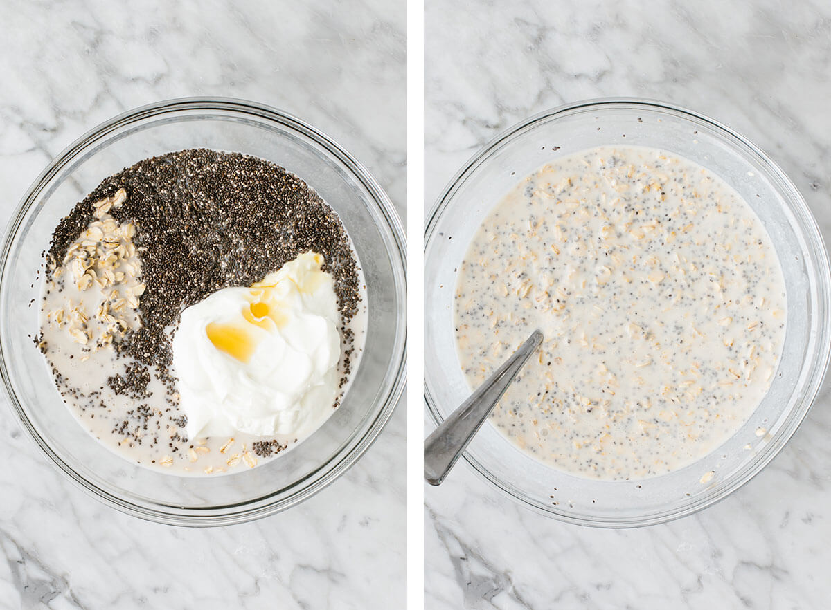 Mixing overnight oats ingredients in a bowl.