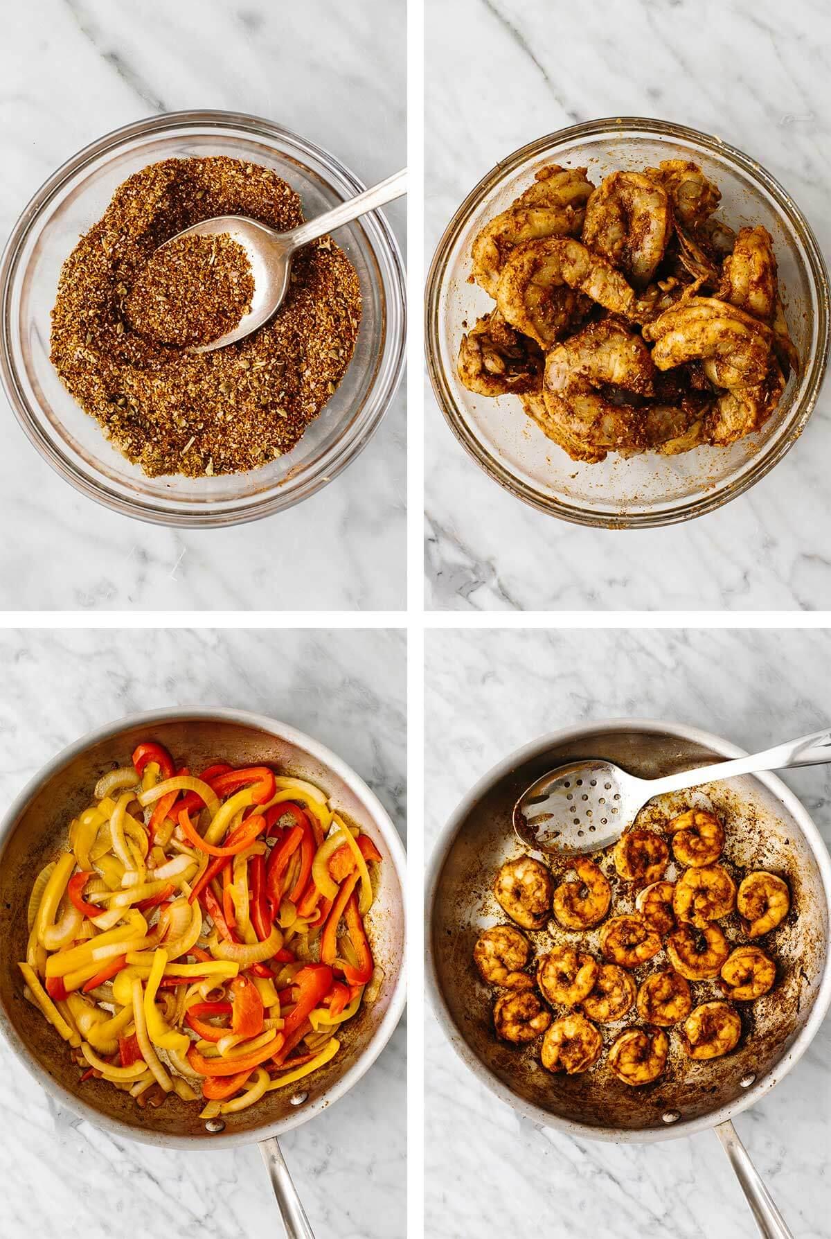 Making shrimp fajitas in a pan.