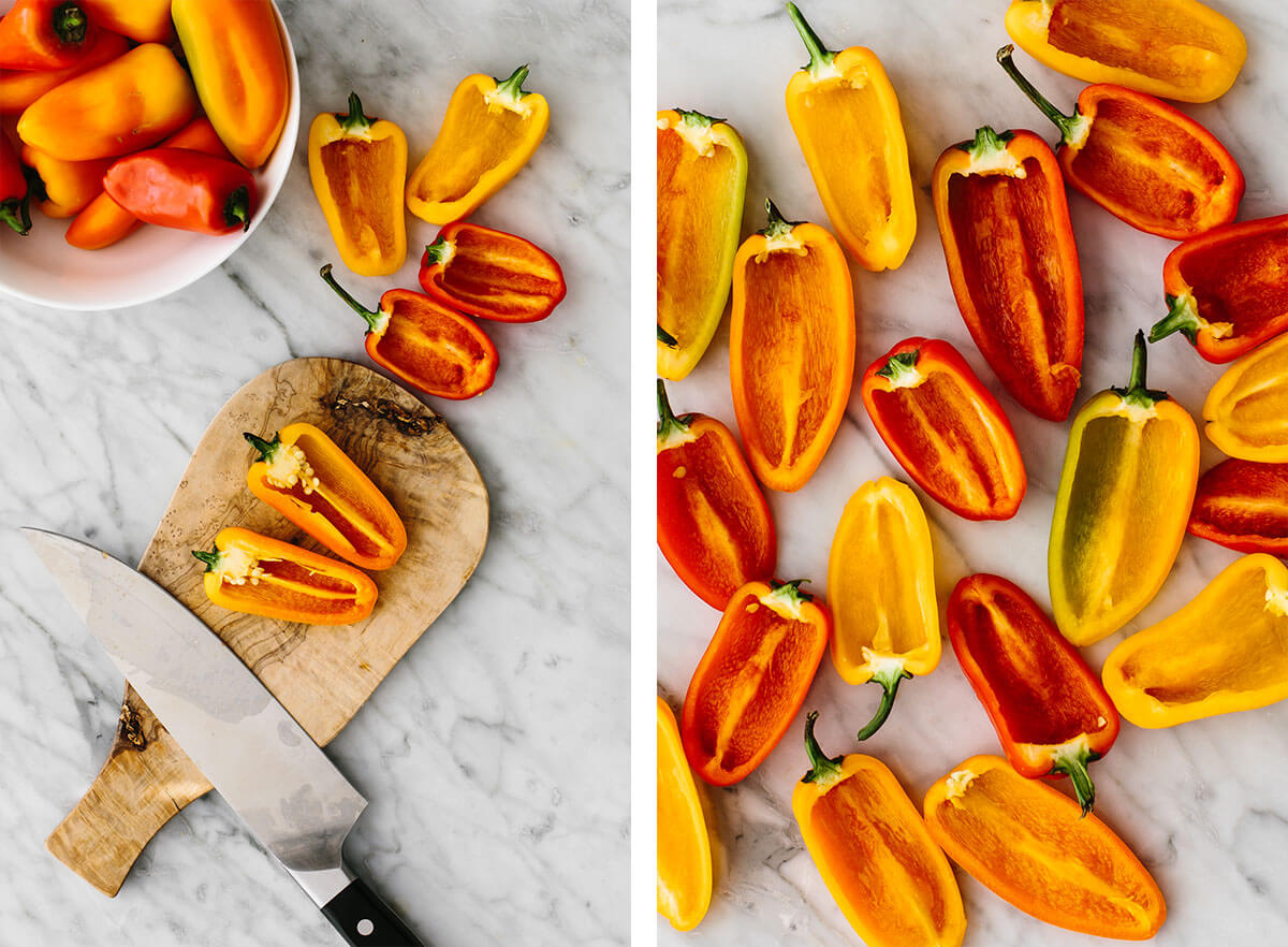 Slicing and scooping seeds out of mini bell peppers.