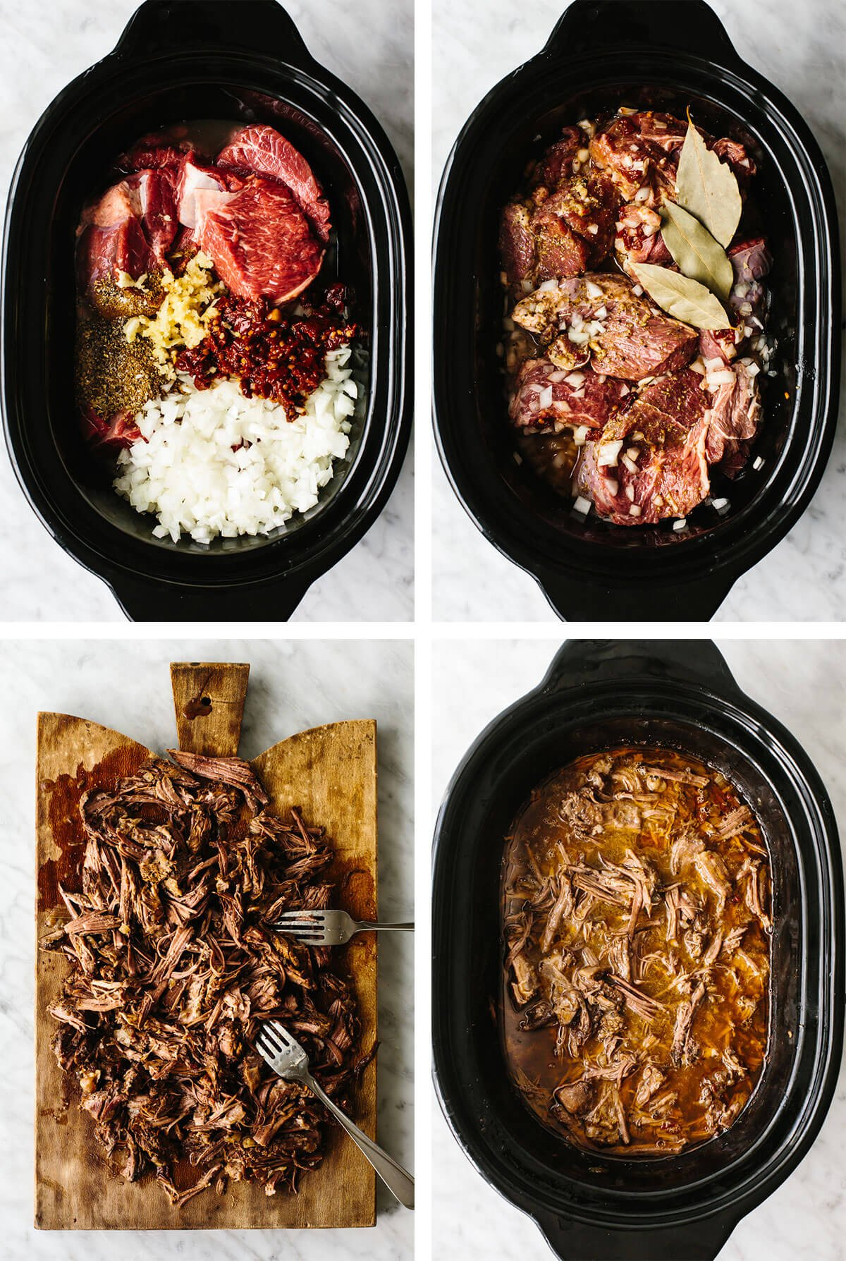 Preparing barbacoa tacos in the slow cooker.