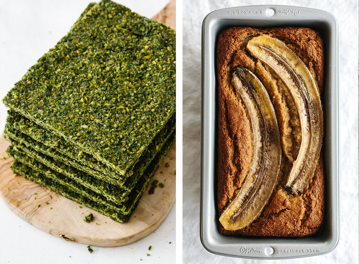 Gluten-free recipes with banana bread and falafel flatbread.