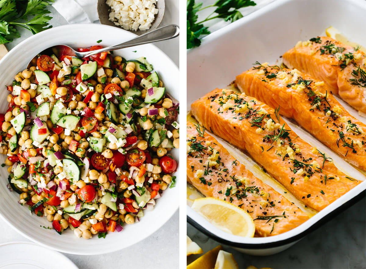 Gluten-free recipes with chickpea salad and baked salmon