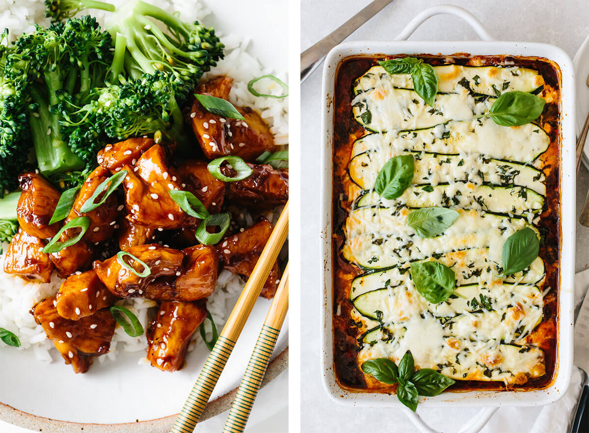 Gluten-free dinner recipes with teriyaki chicken and zucchini lasagna.