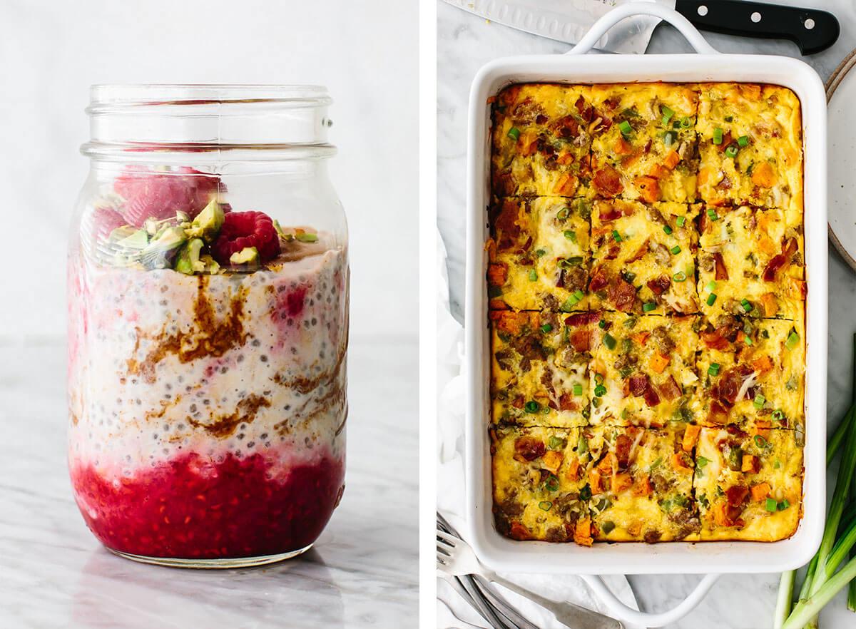 Gluten-free breakfast ideas with overnight oats and breakfast casserole.
