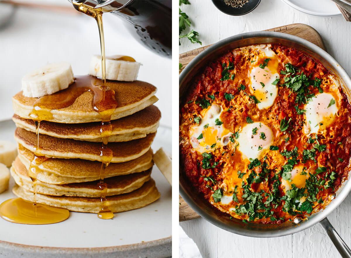 Gluten-free breakfast recipes with pancakes and shakshuka.