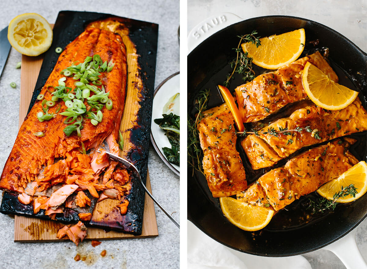 Seared and grilled salmon recipes.