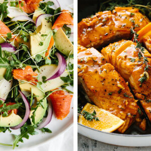 Best salmon recipes with seared salmon and salmon salad.