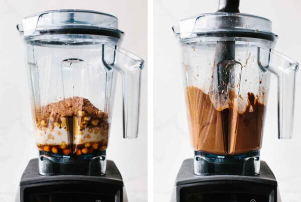 Blending chocolate hummus in a Vitamix.
