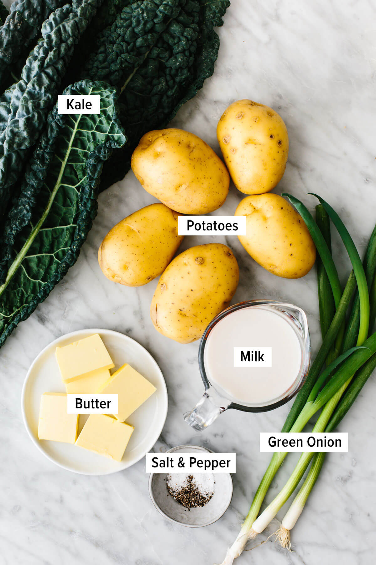 Colcannon ingredients on a table.