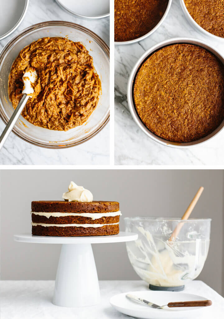 The process of making the carrot cake.