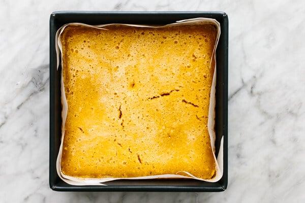 Baking lemon bars in a pan.