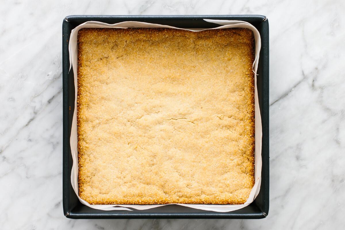 Crust in a pan for lemon bars