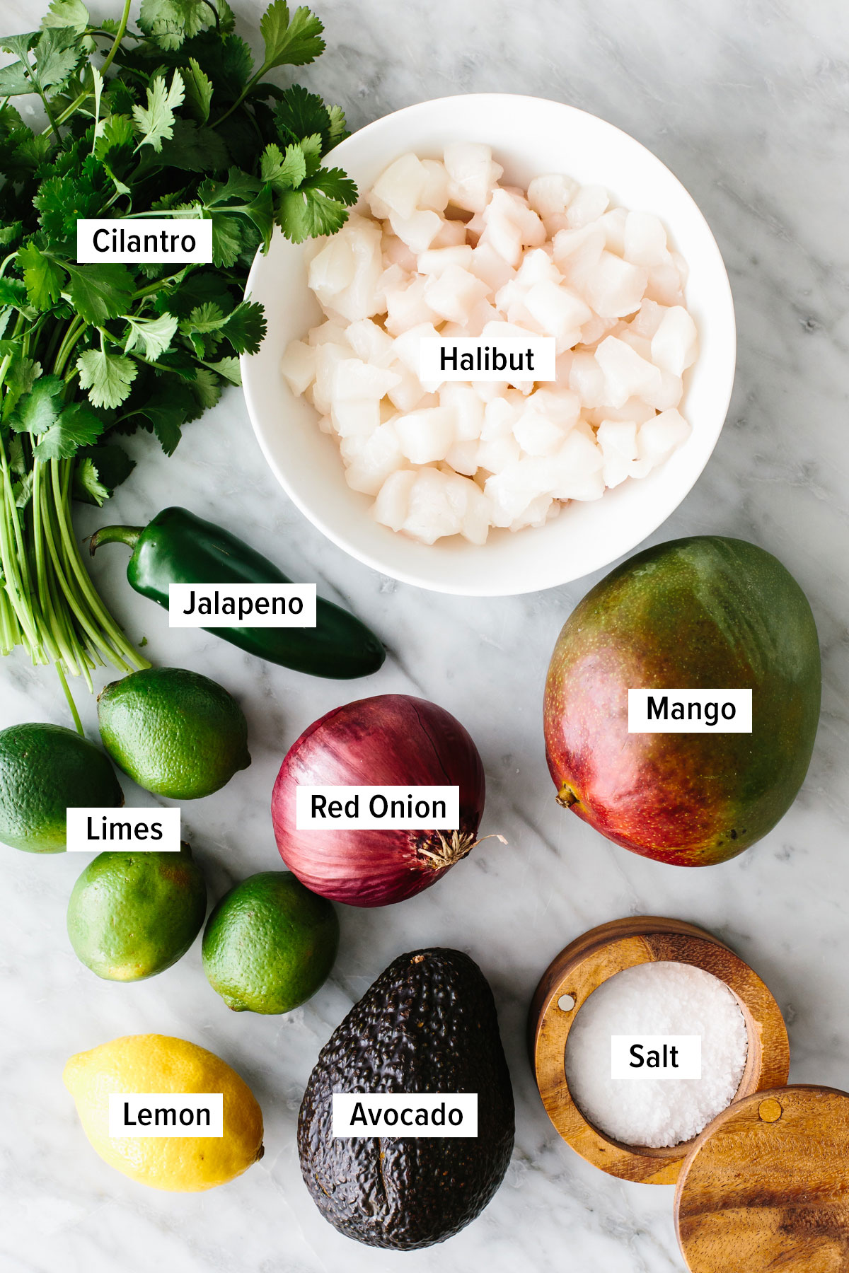 Ingredients for mango halibut ceviche on a table.