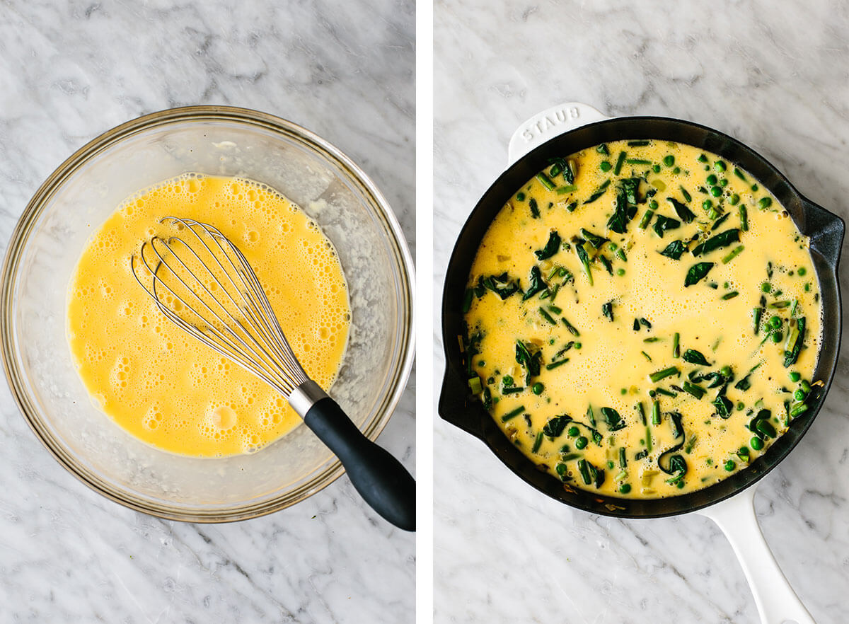 Making egg mixture in a bowl for spring vegetable frittata