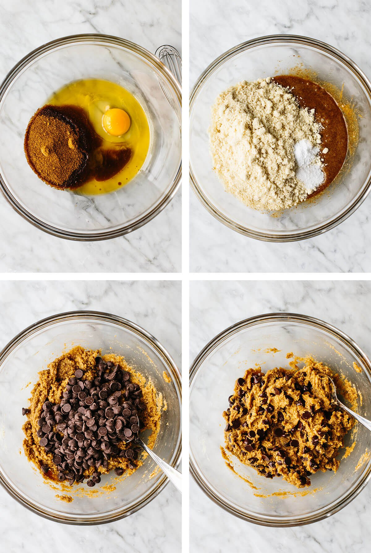 Mixing gluten-free chocolate chip cookie ingredients in a bowl.