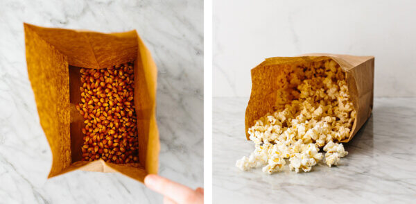 Microwave popcorn in a paper bag.