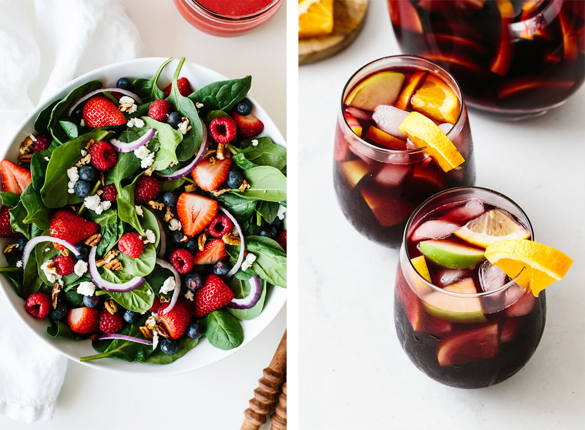 July 4th recipes with a berry salad and red sangria.