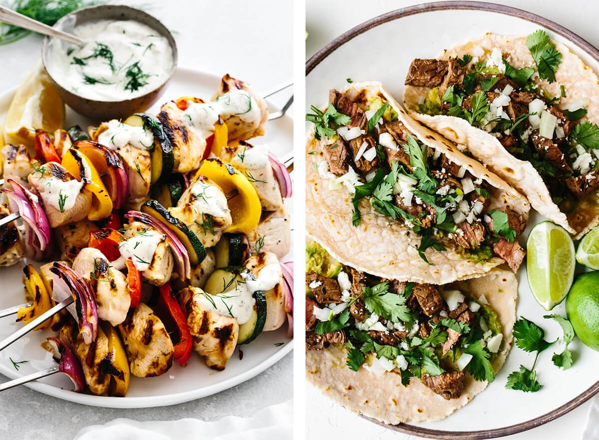 July 4th recipes with carne asada tacos and chicken kabobs