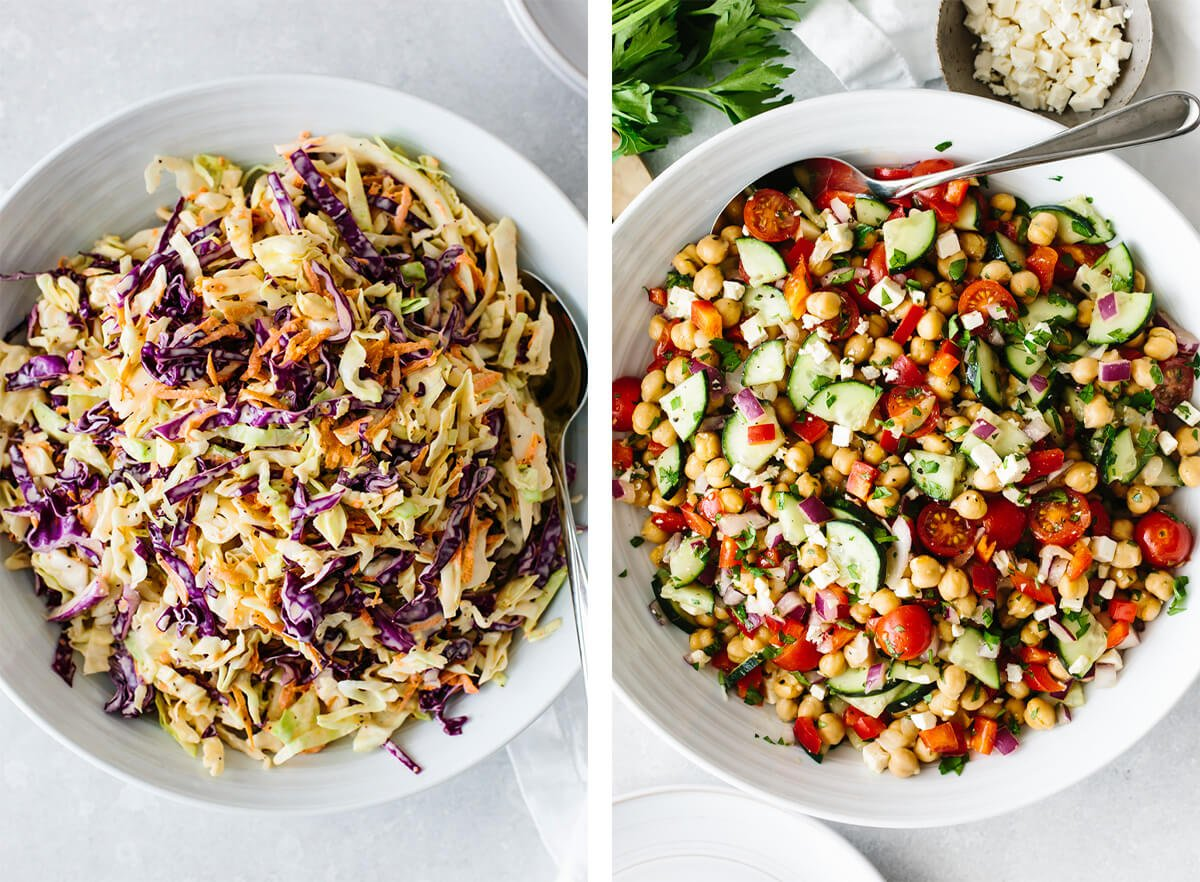 July 4th recipes with coleslaw and chickpea salad