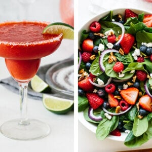 July 4th recipes with berry spinach salad and strawberry margarita