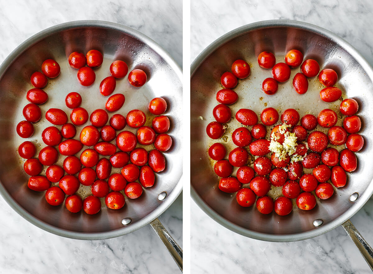 Cooking blistered tomatoes in a metal pan.