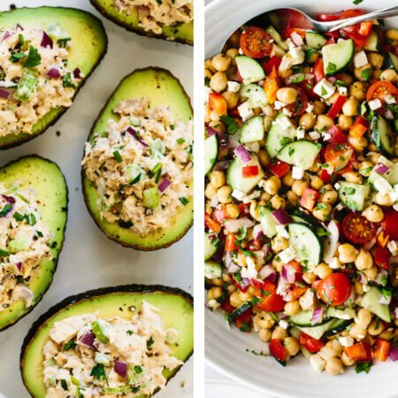 Healthy lunch ideas including chickpea salad and tuna salad