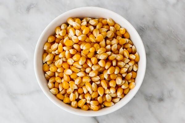Bowl of popcorn kernels.