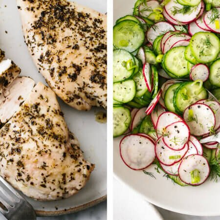 Low carb recipes with baked chicken and cucumber radish salad