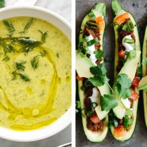 Zucchini recipes including zucchini soup and stuffed zucchini boats